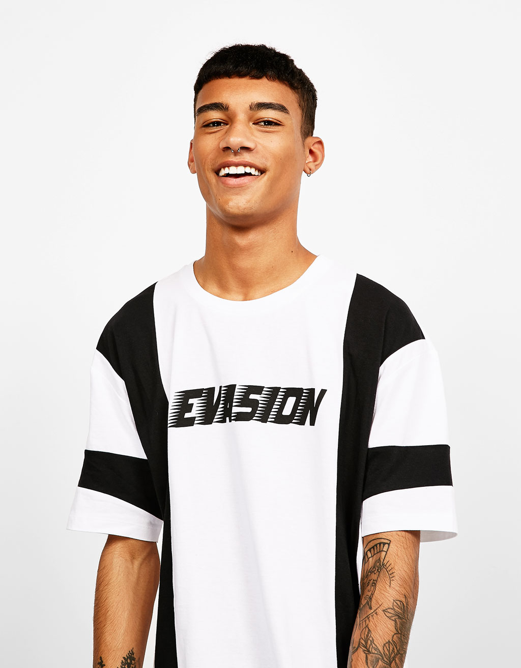 White and black print T-shirt