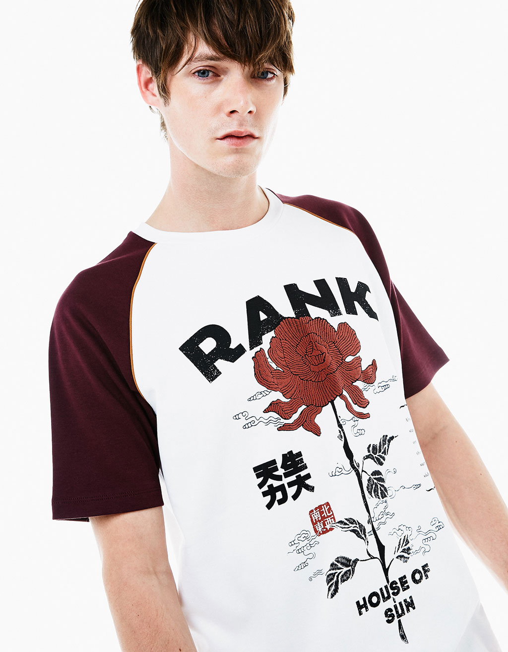 Tiger/rose raglan sleeve T-shirt
