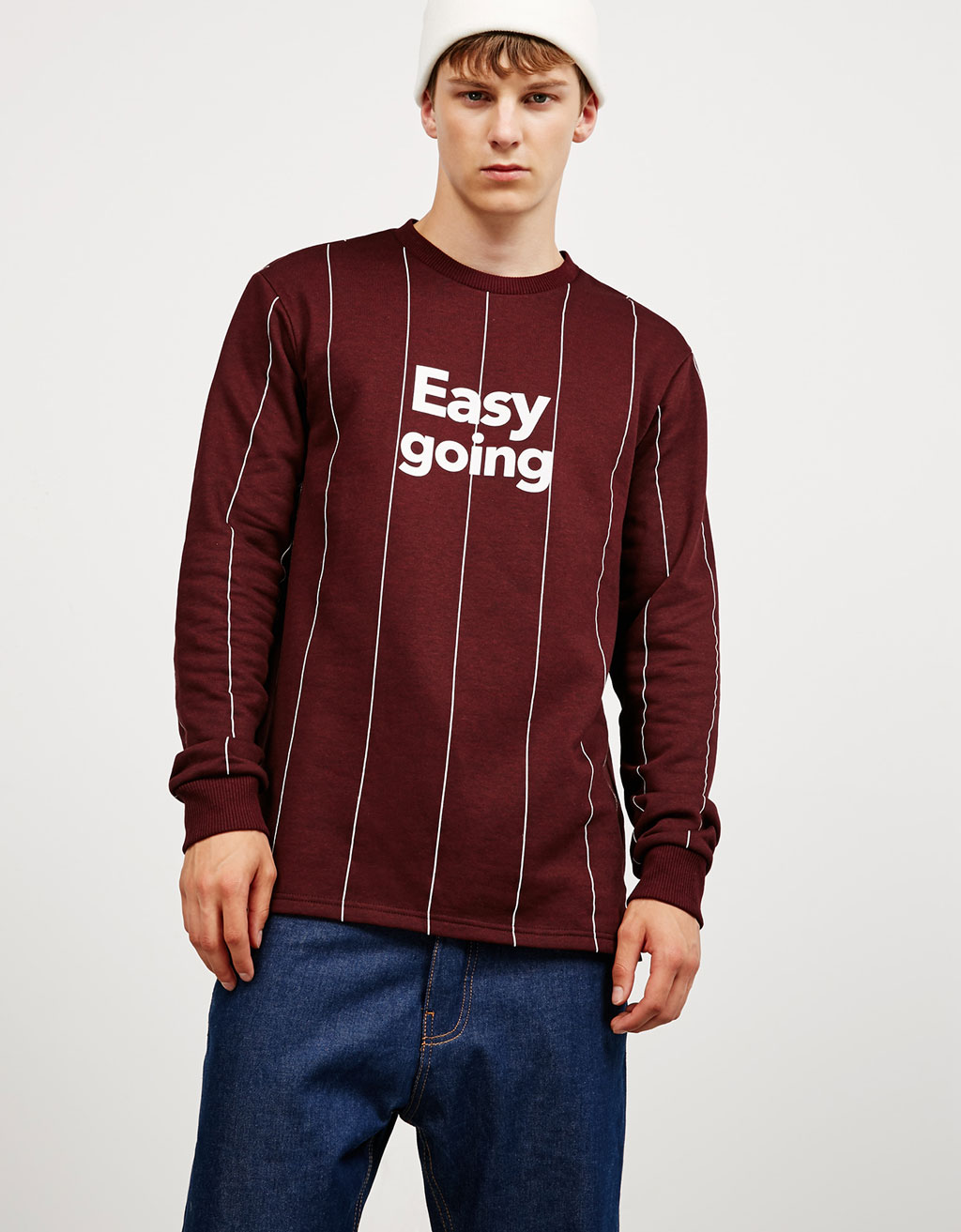 Vertical stripes text sweatshirt