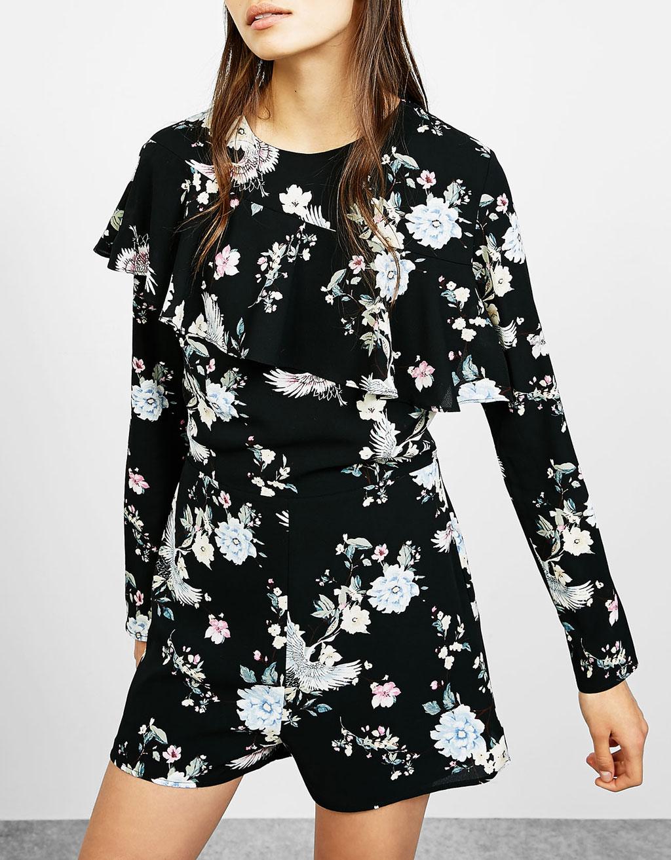 Short floral print jumpsuit