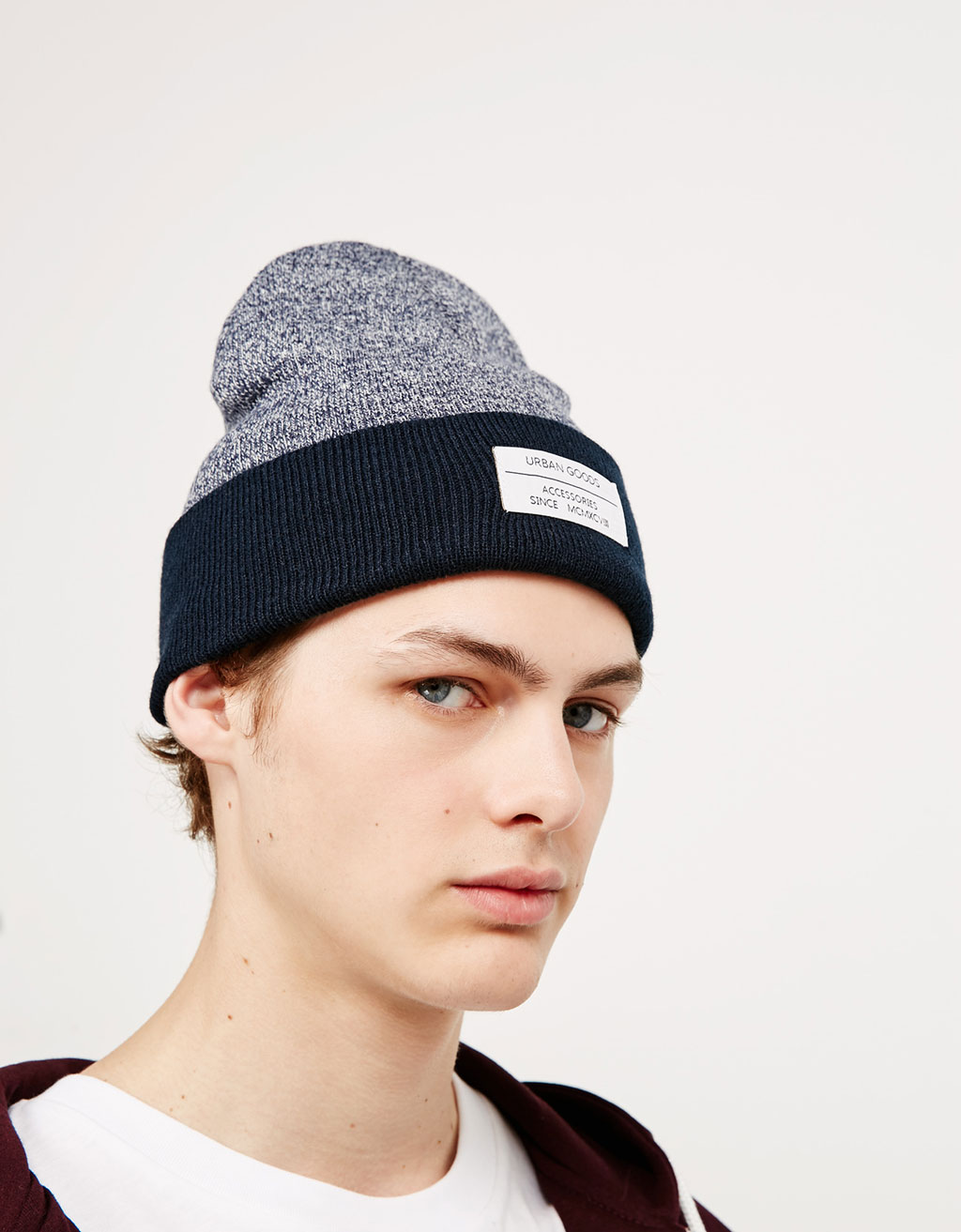 Flecked beanie with patch