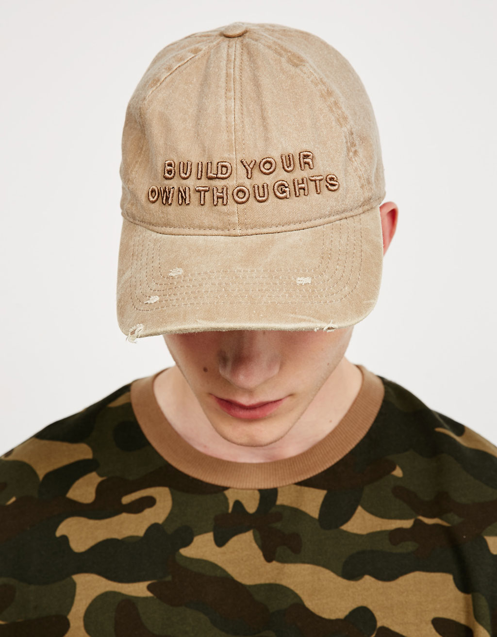 Stonewashed text cap