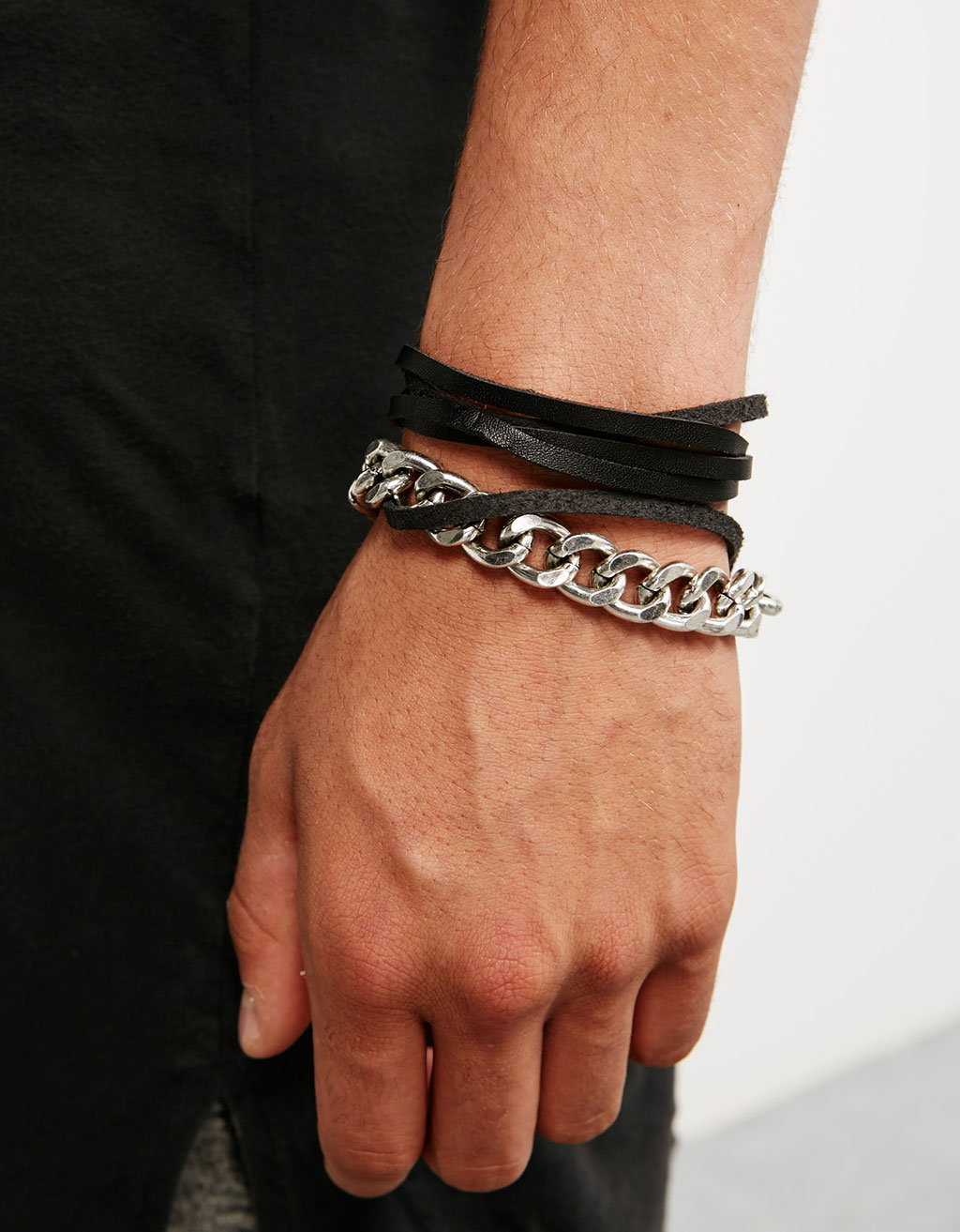 Cord and chain bracelets (set of 2)