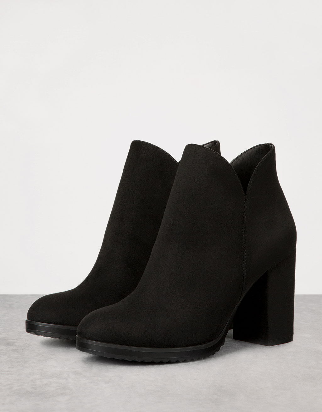 Zipped ankle boots with block mid-heel