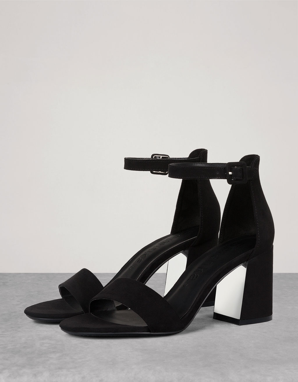 Strappy heeled sandals with ankle strap