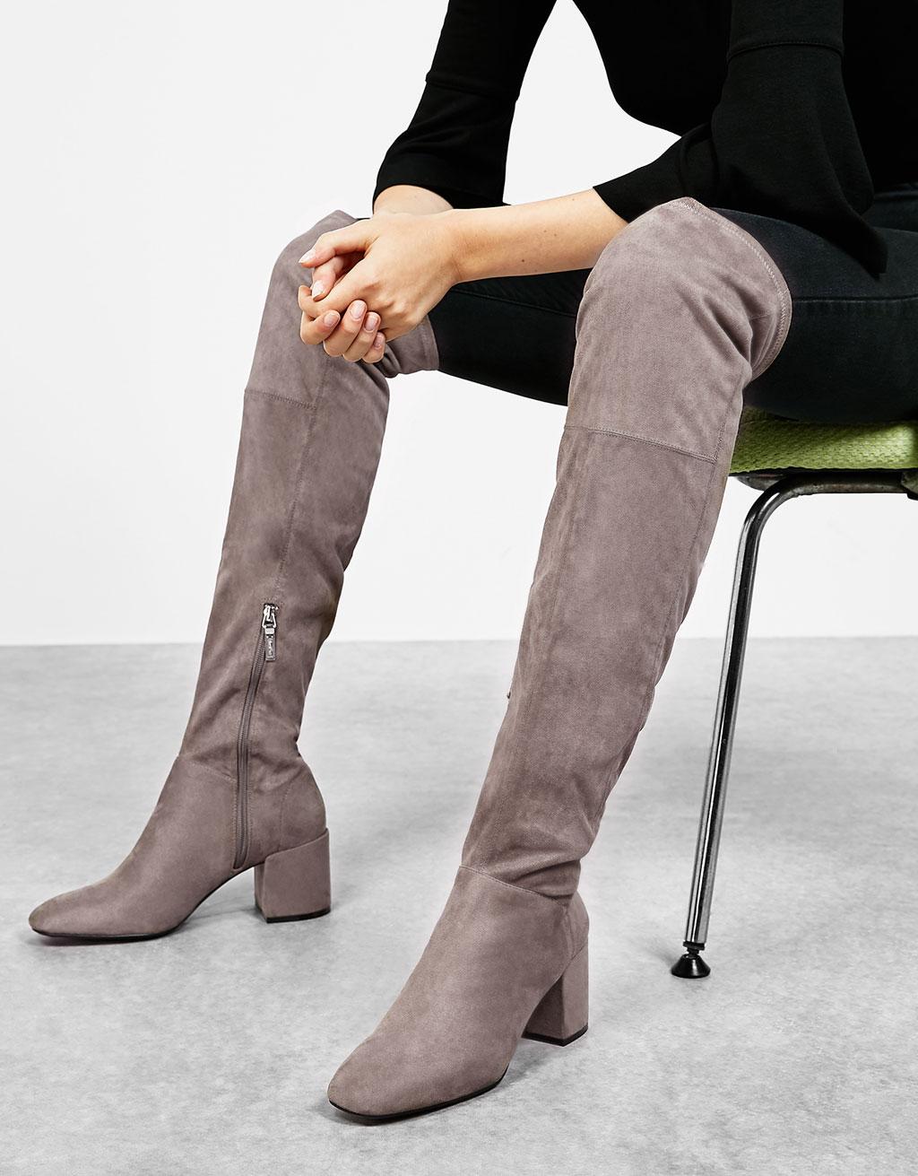 Mid heel tall boots