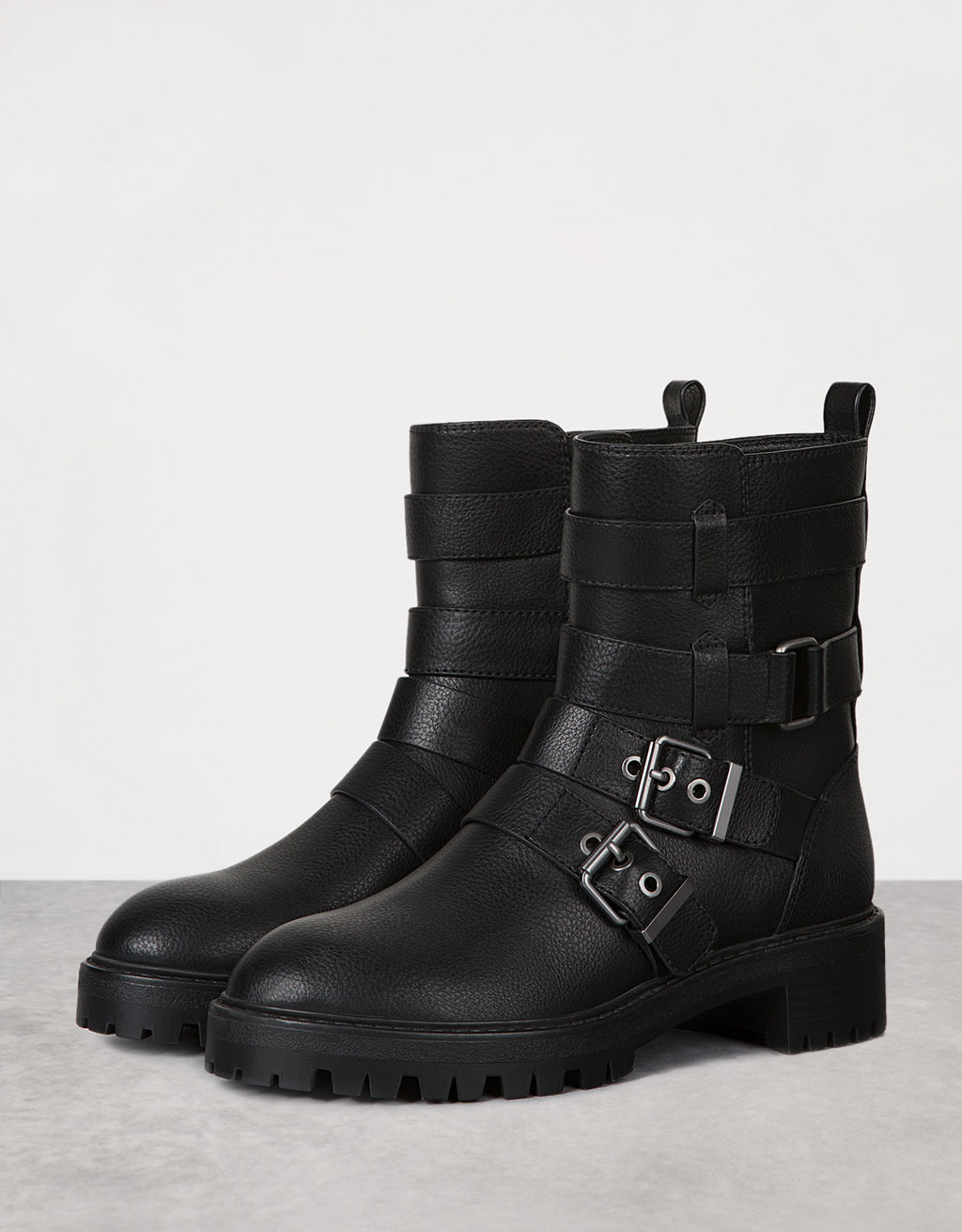 Flat biker ankle boots with buckles