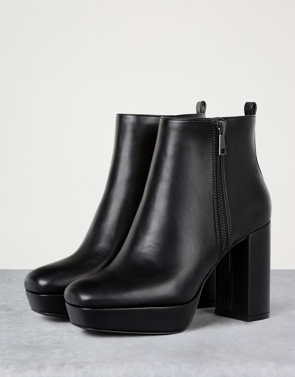 Wide heel platform ankle boots