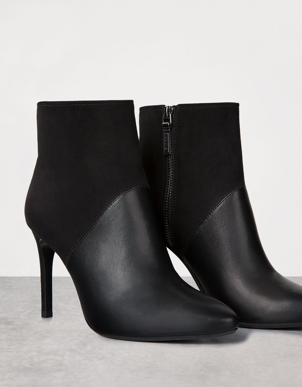 Combined fine heel ankle boots