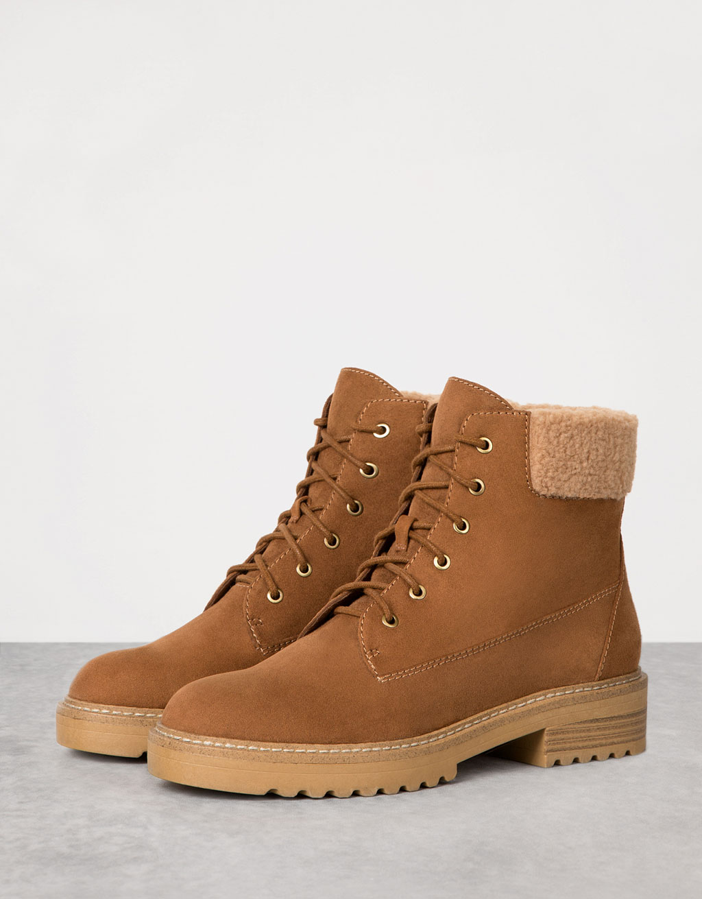 Lace-up shearling ankle boots