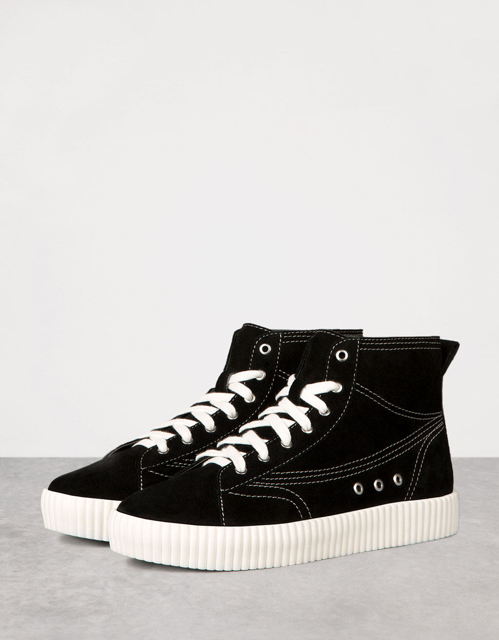 LEATHER platform high tops