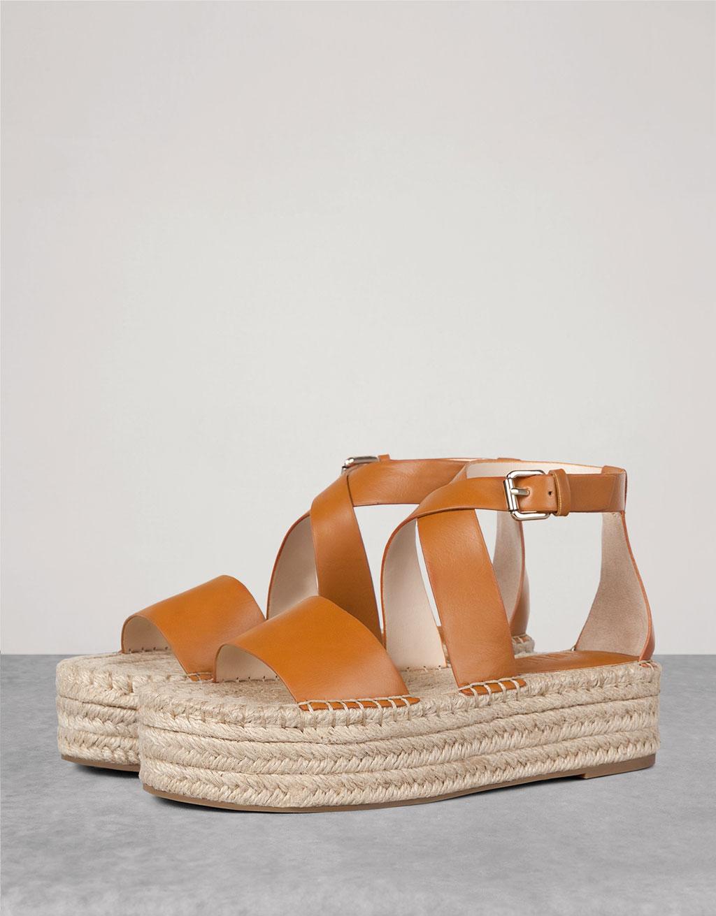 Criss cross jute platform sandals