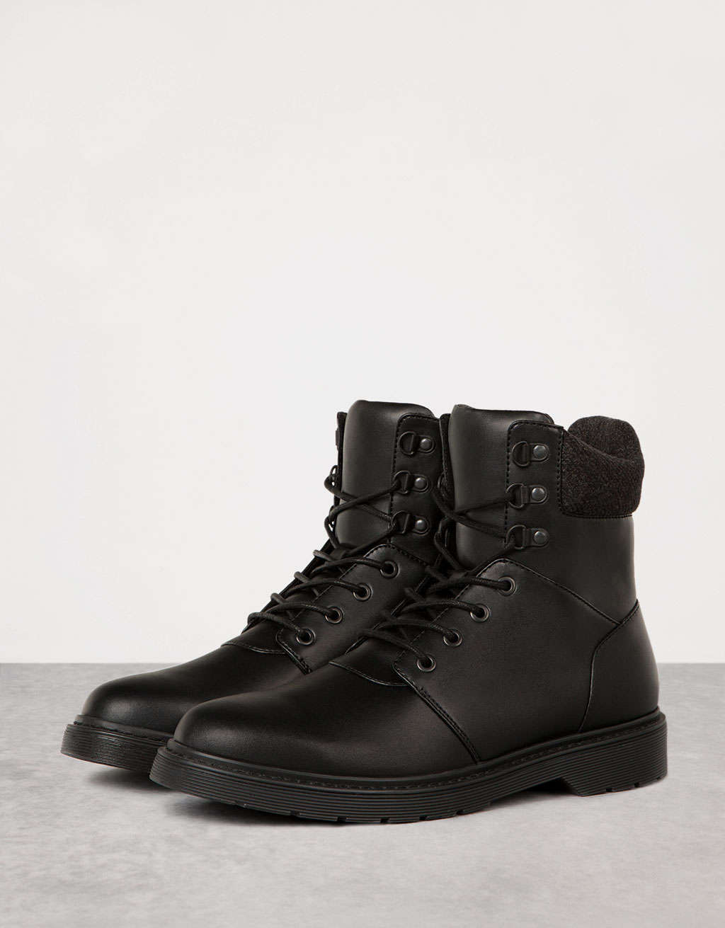 Men's fur-lined fabric top boots