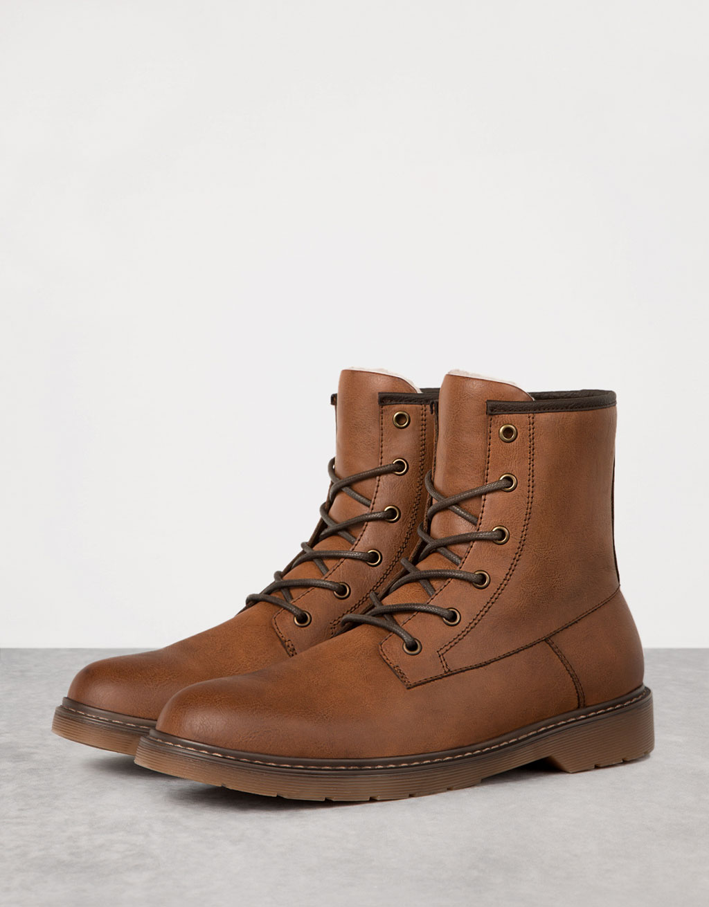 Men's fur-lined lace-up dressy boots