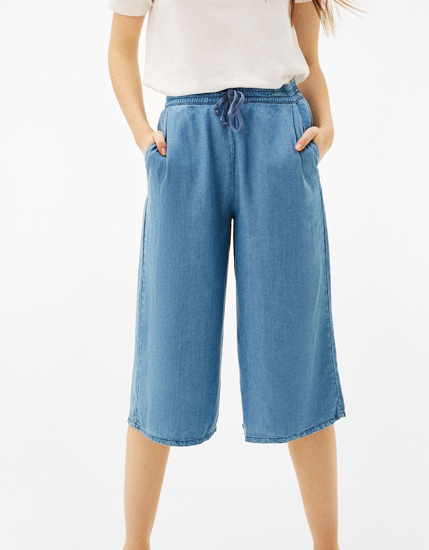 Pantalón culotte denim Tencel