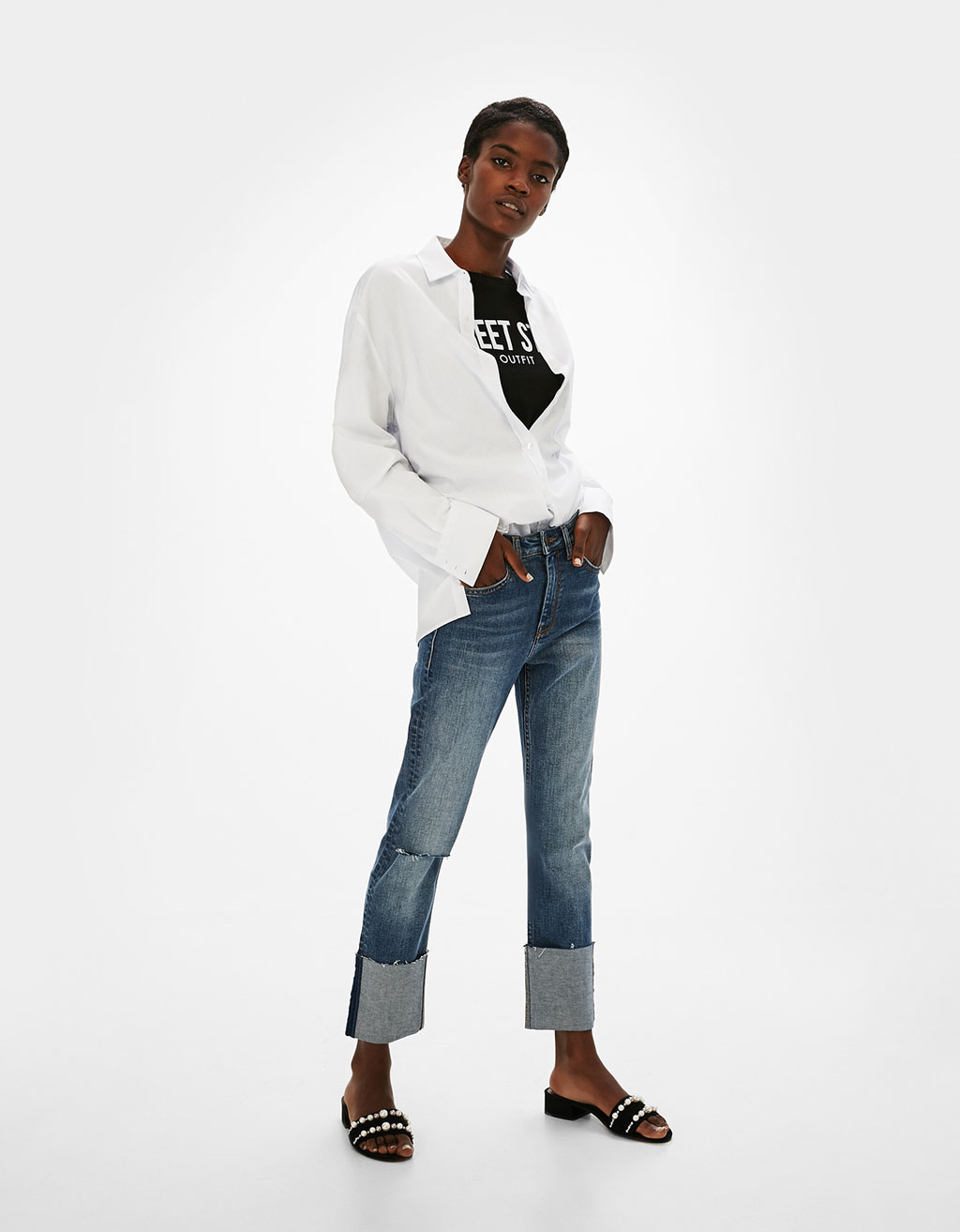 Straight fit jeans with rolled-up hems