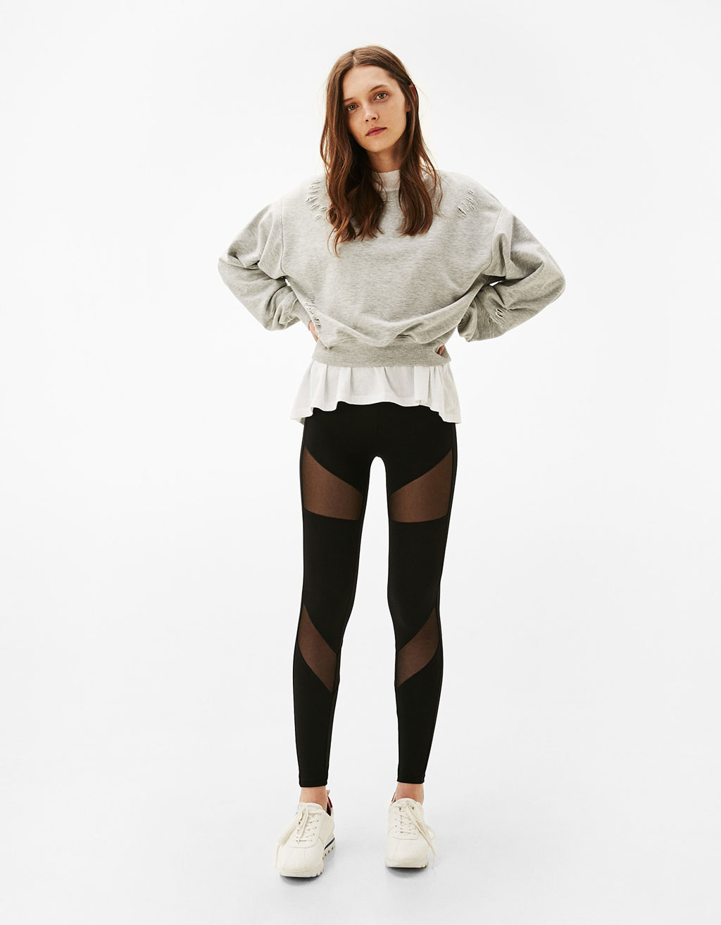 Leggings with transparent polyamide trims