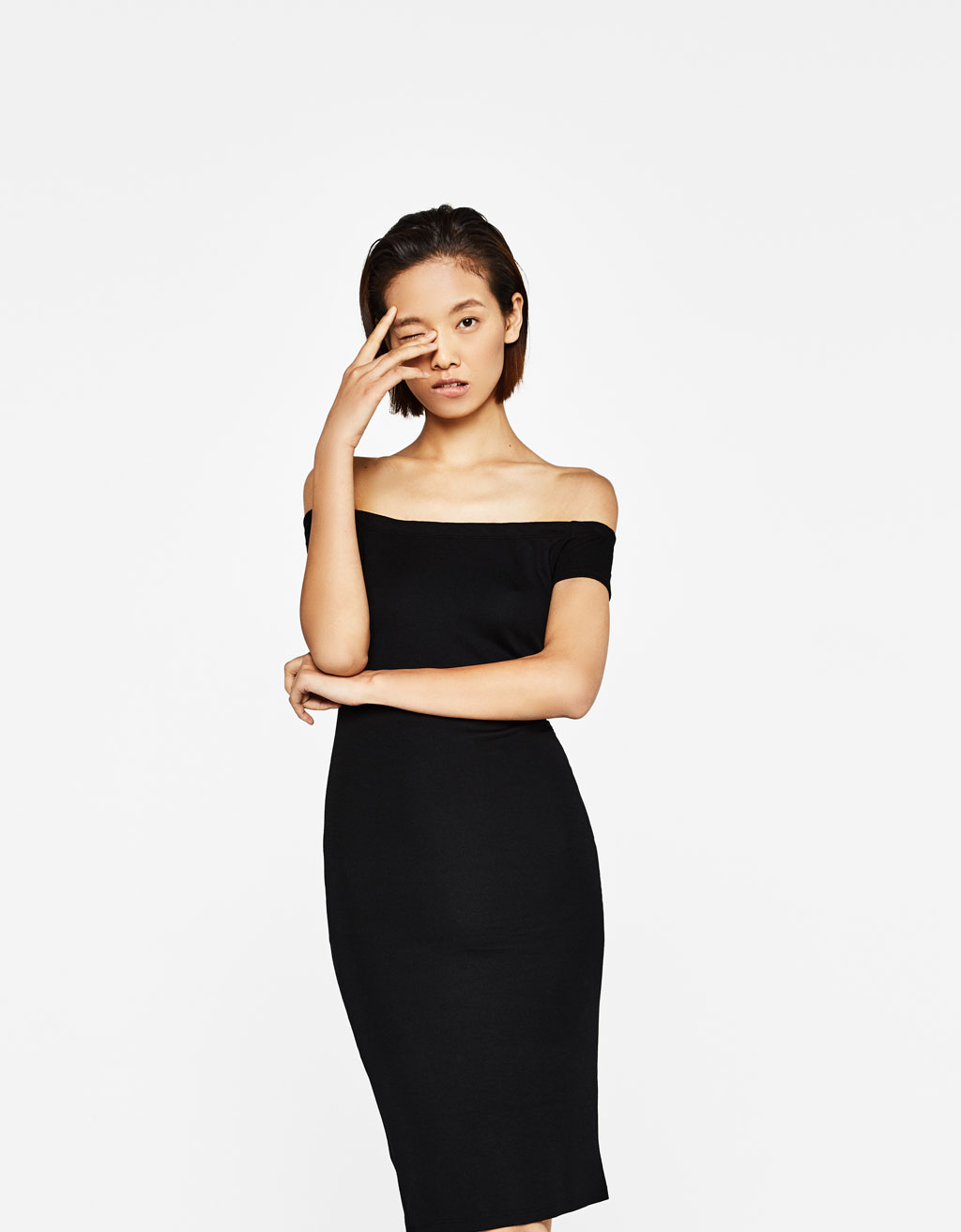 Off-the-shoulder ponte di roma knit dress