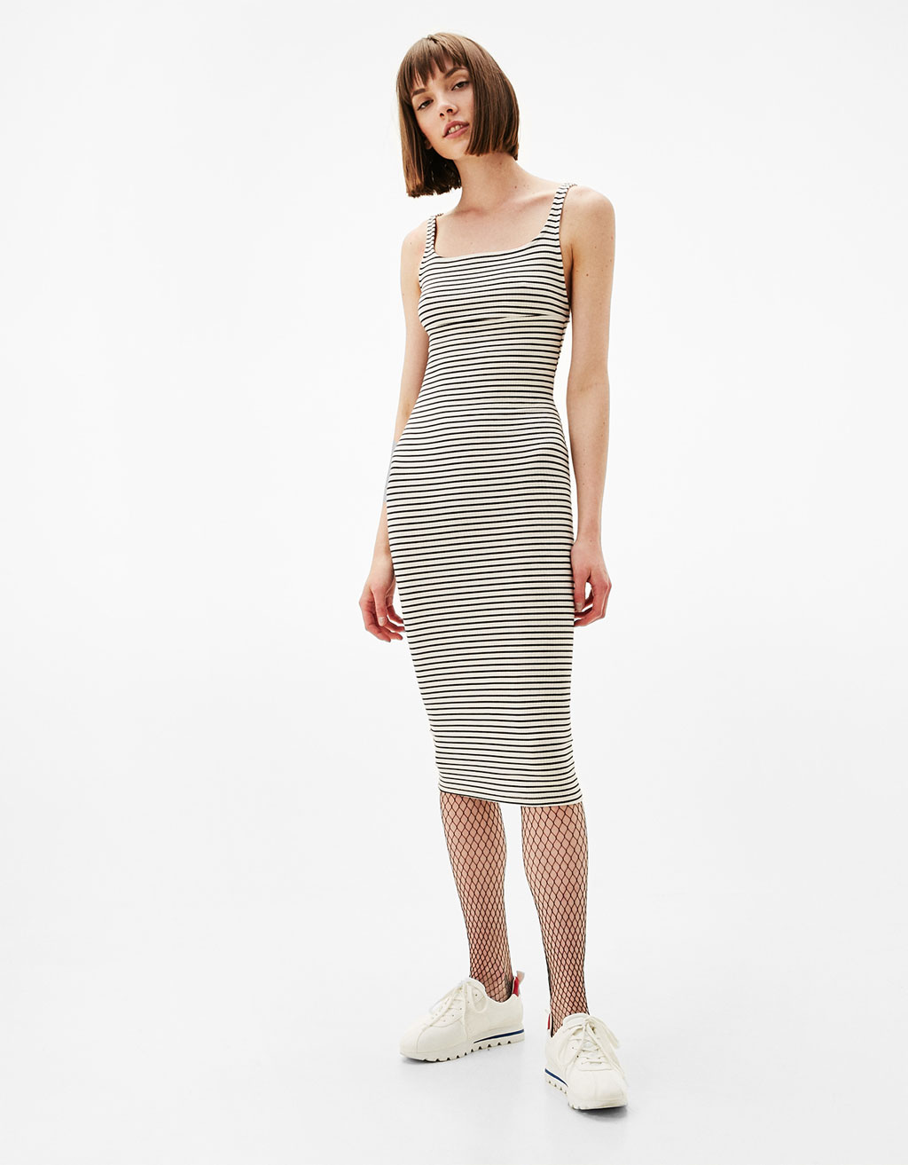 Strappy fitted midi dress