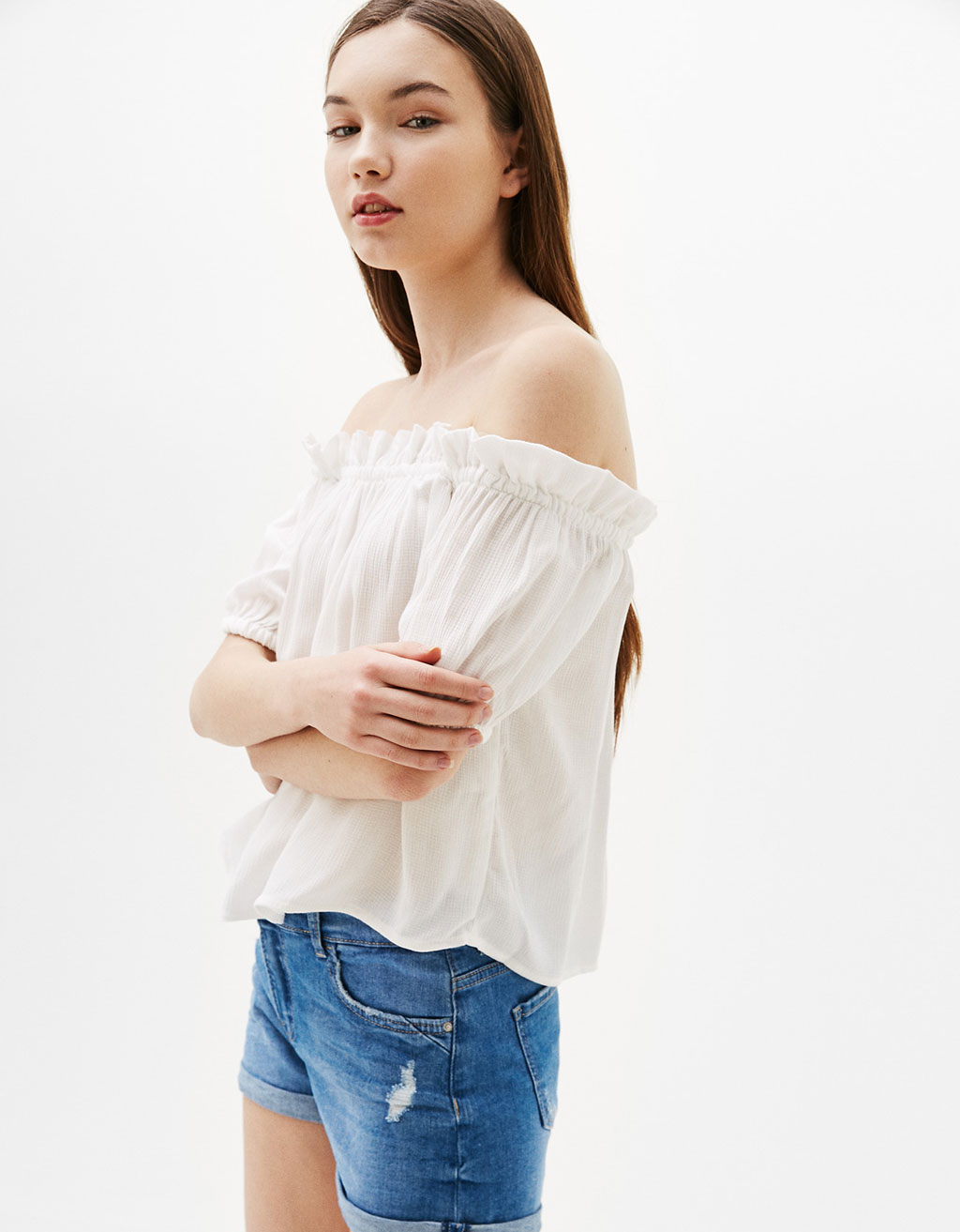 Off-the-shoulder flounced blouse