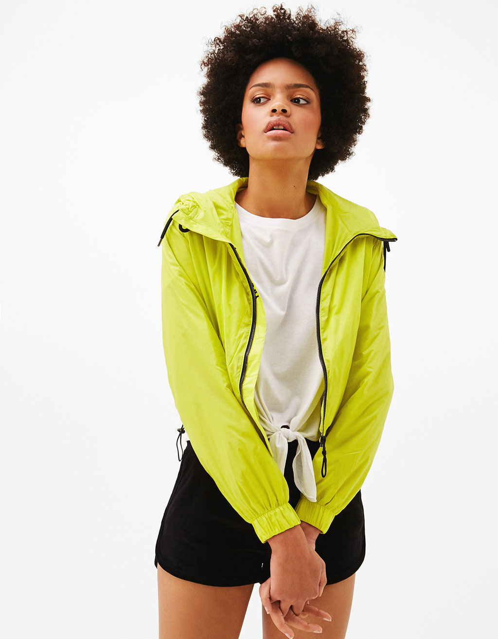 Cropped hooded nylon jacket