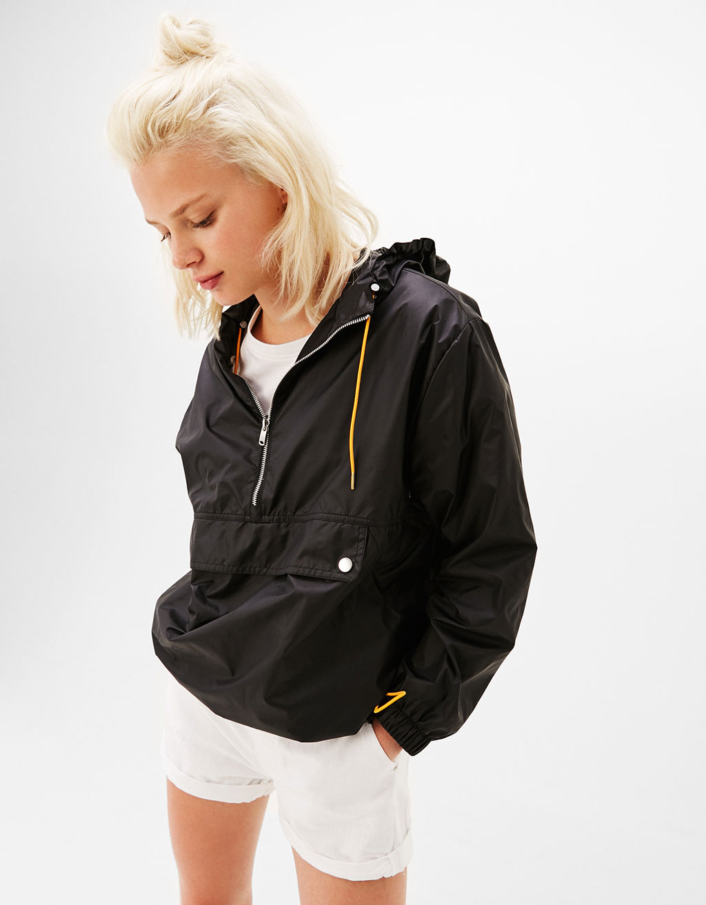 Hooded jacket with nylon pouch pocket