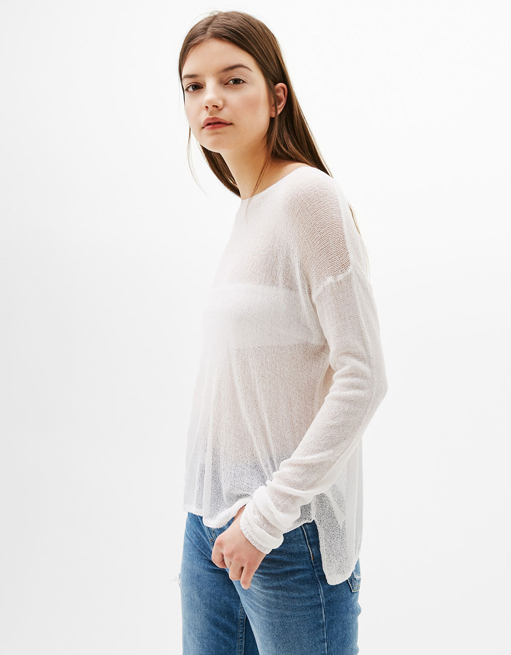 Oversized sweater with sheer trims