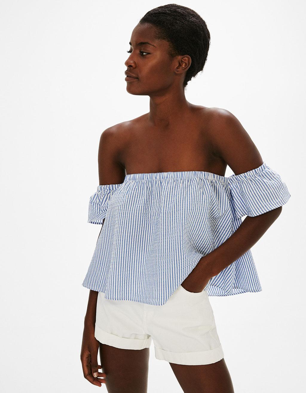 Strapless poplin blouse