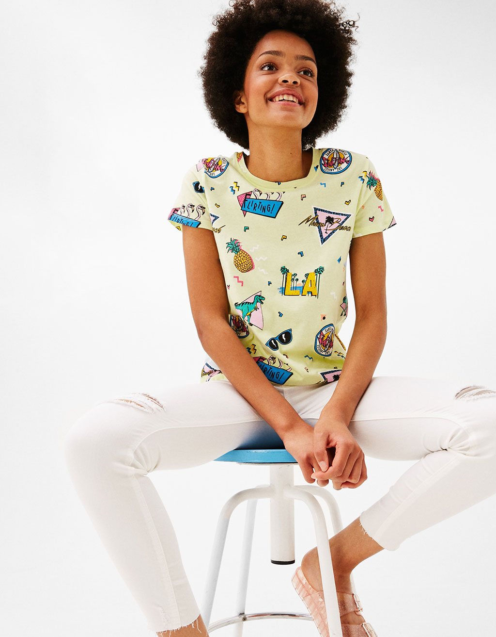 All-over print cotton T-shirt