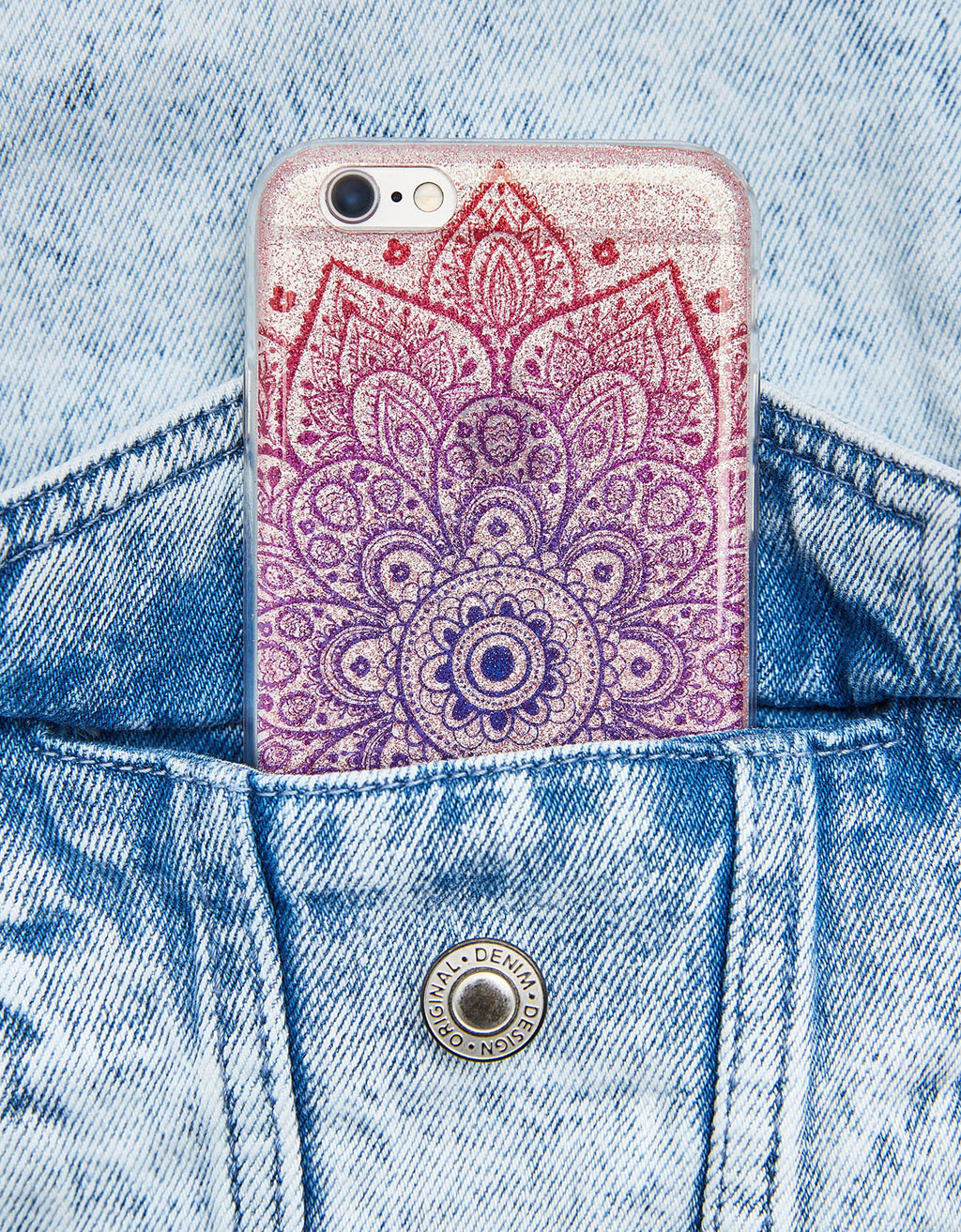 iPhone 6/6s case with glitter and raised pattern