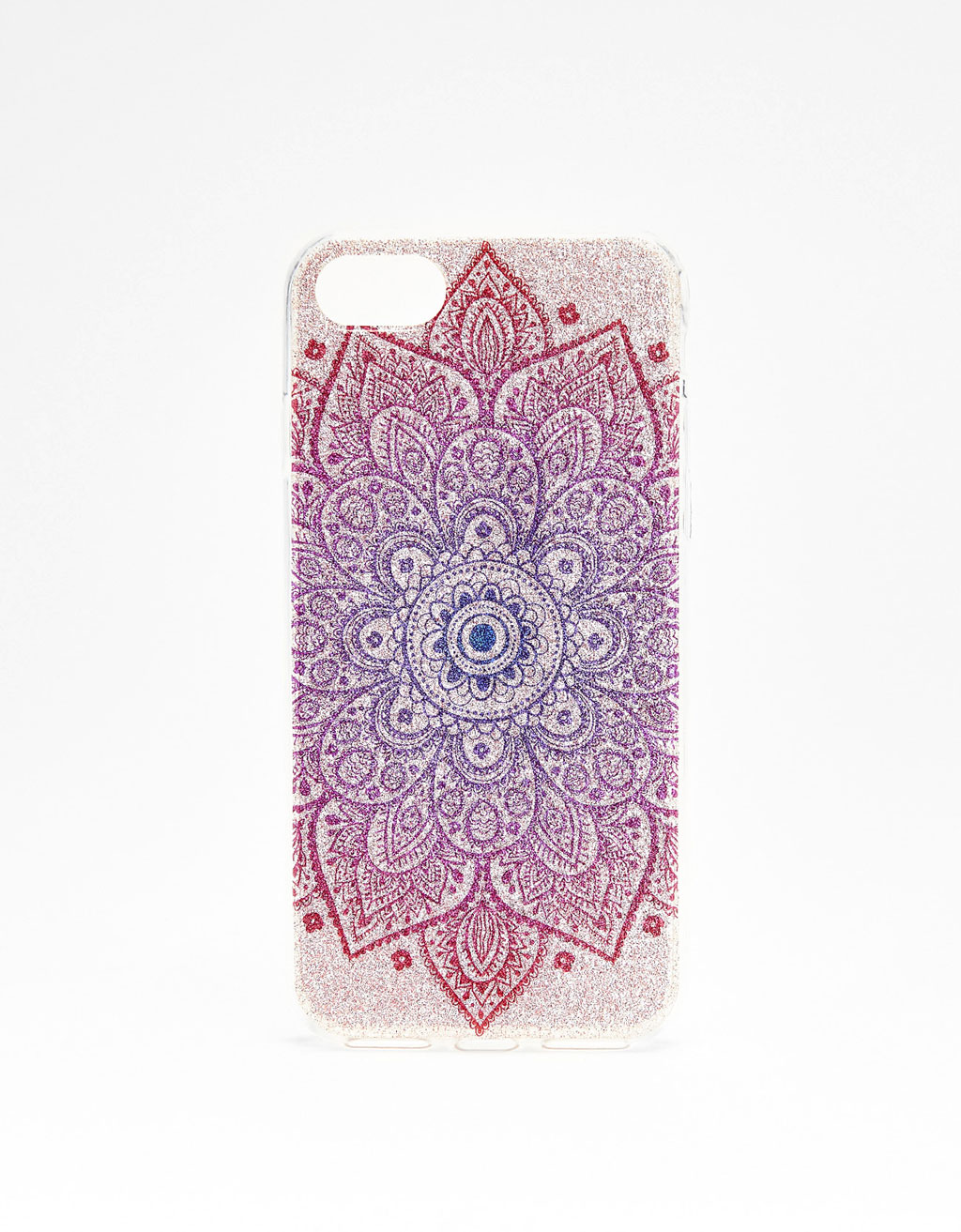 iPhone 7 case with glitter and raised pattern