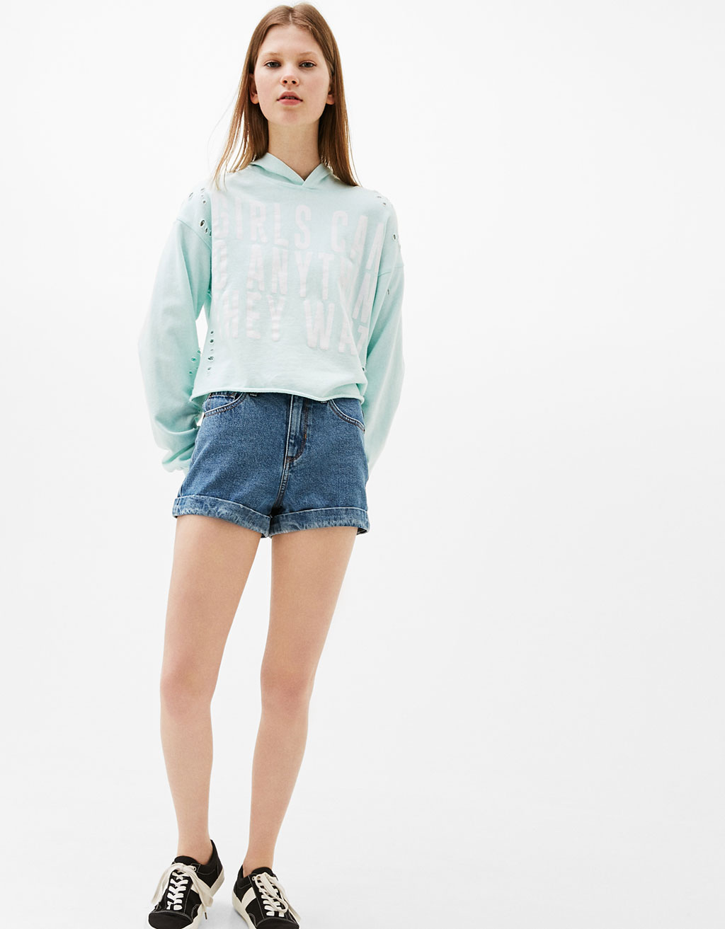 Rolled-up denim shorts