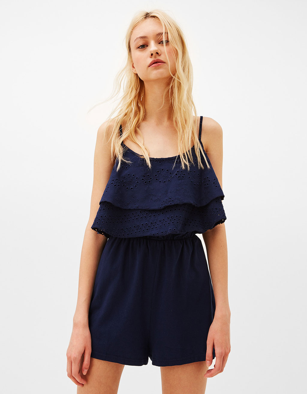 Strappy jumpsuit with open knit ruffle