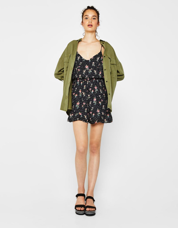 Short strappy floral print jumpsuit
