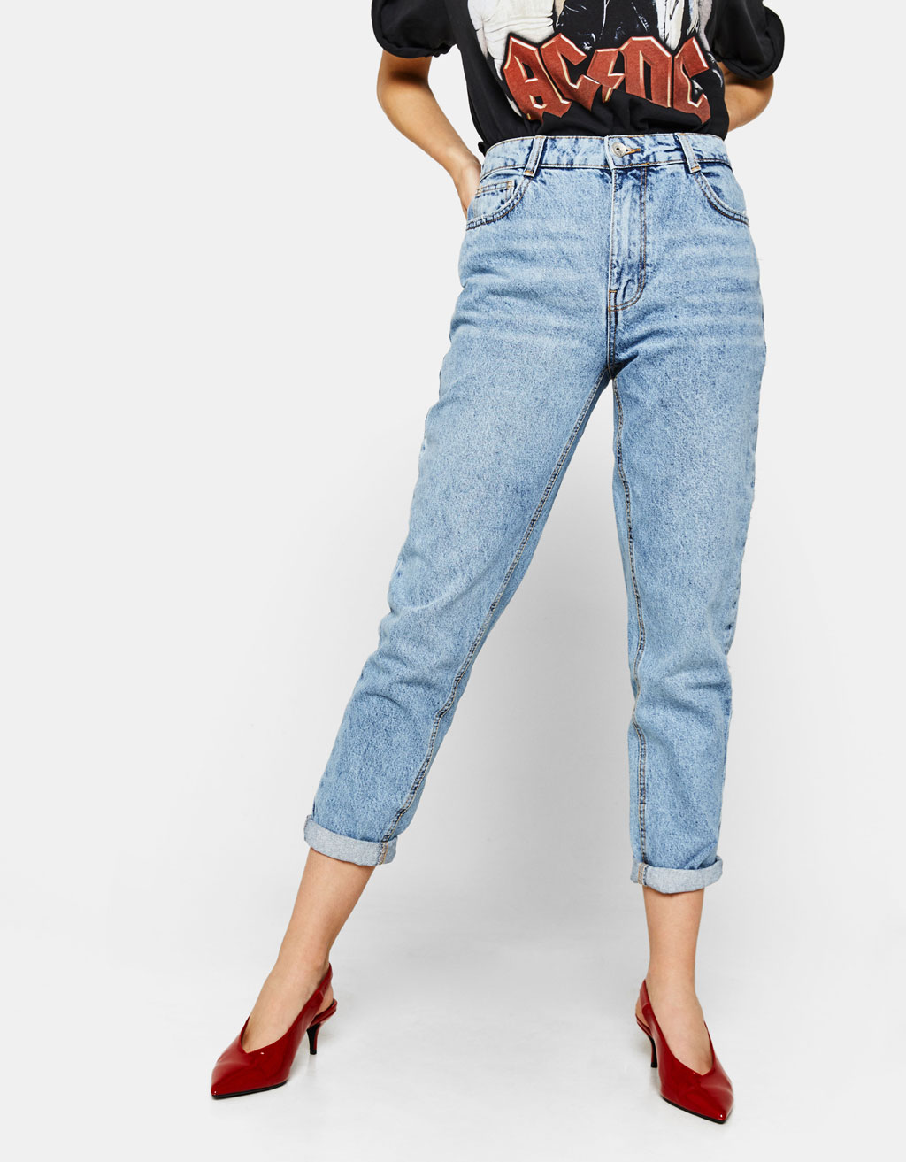 (BLOBER)PANT. DENIM MOM FIT
