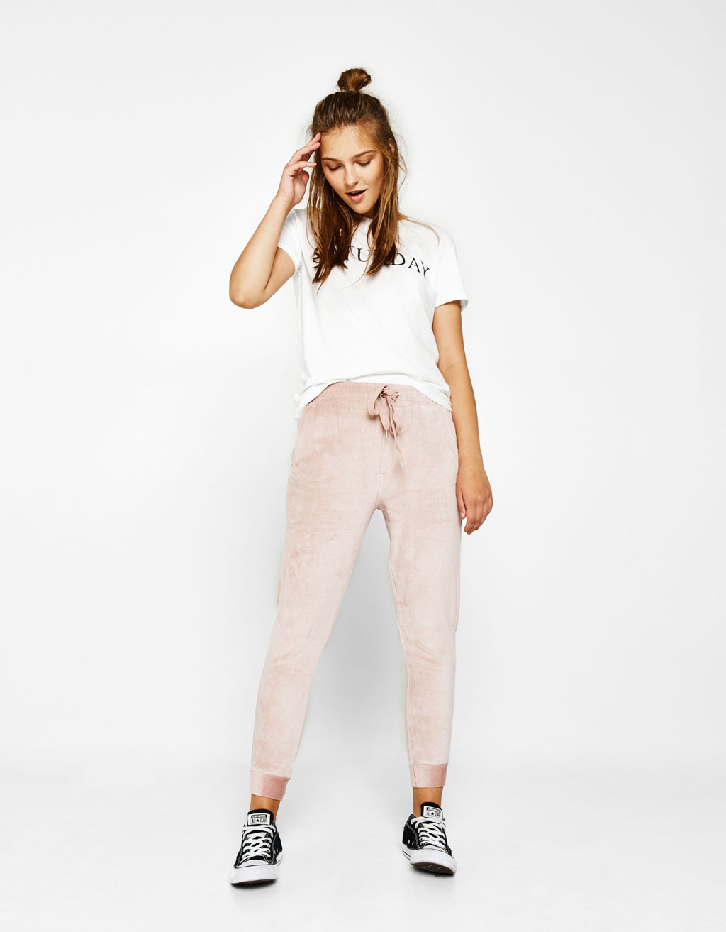 Velvet jogging trousers