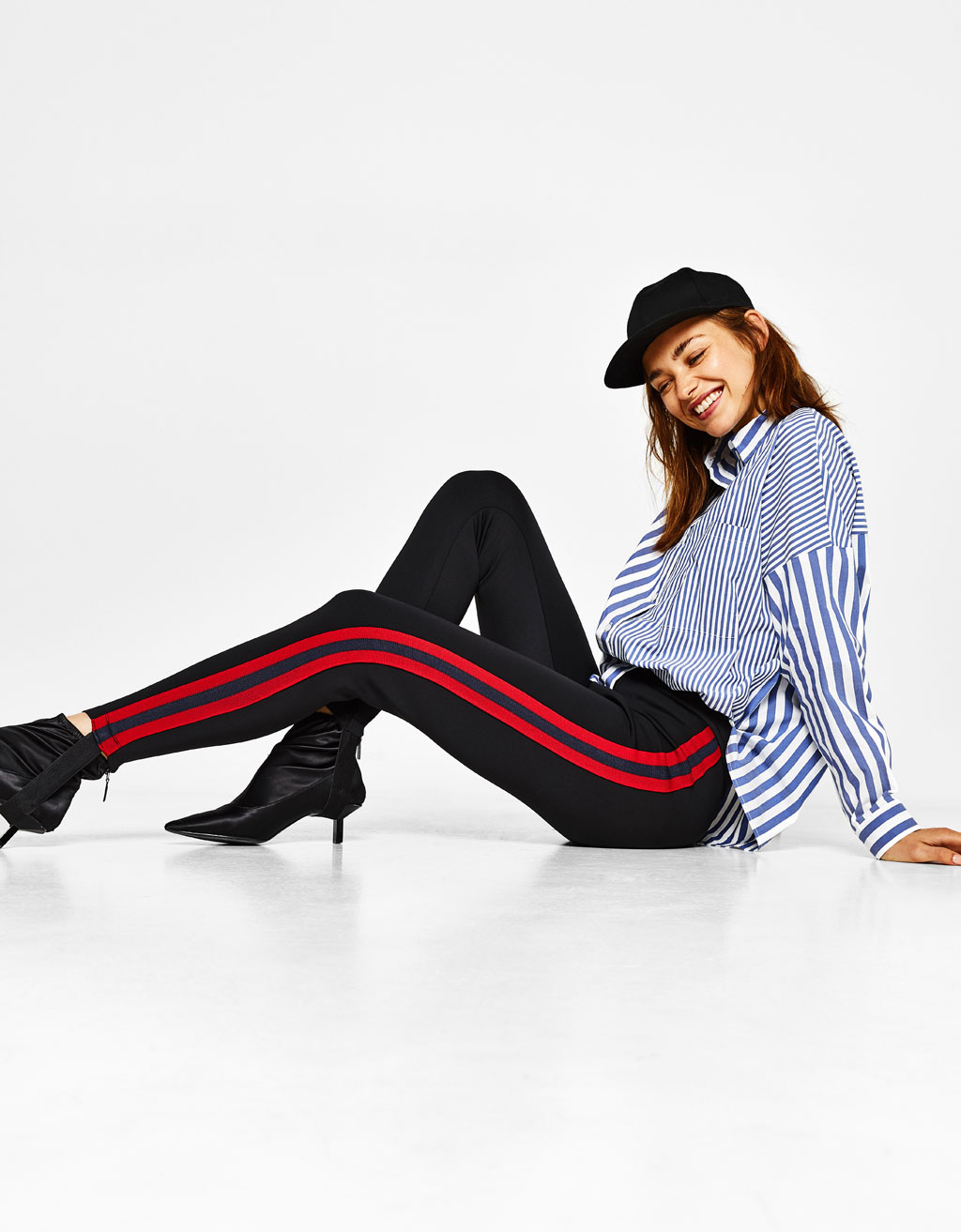 Equestrian-style pants with red stripes
