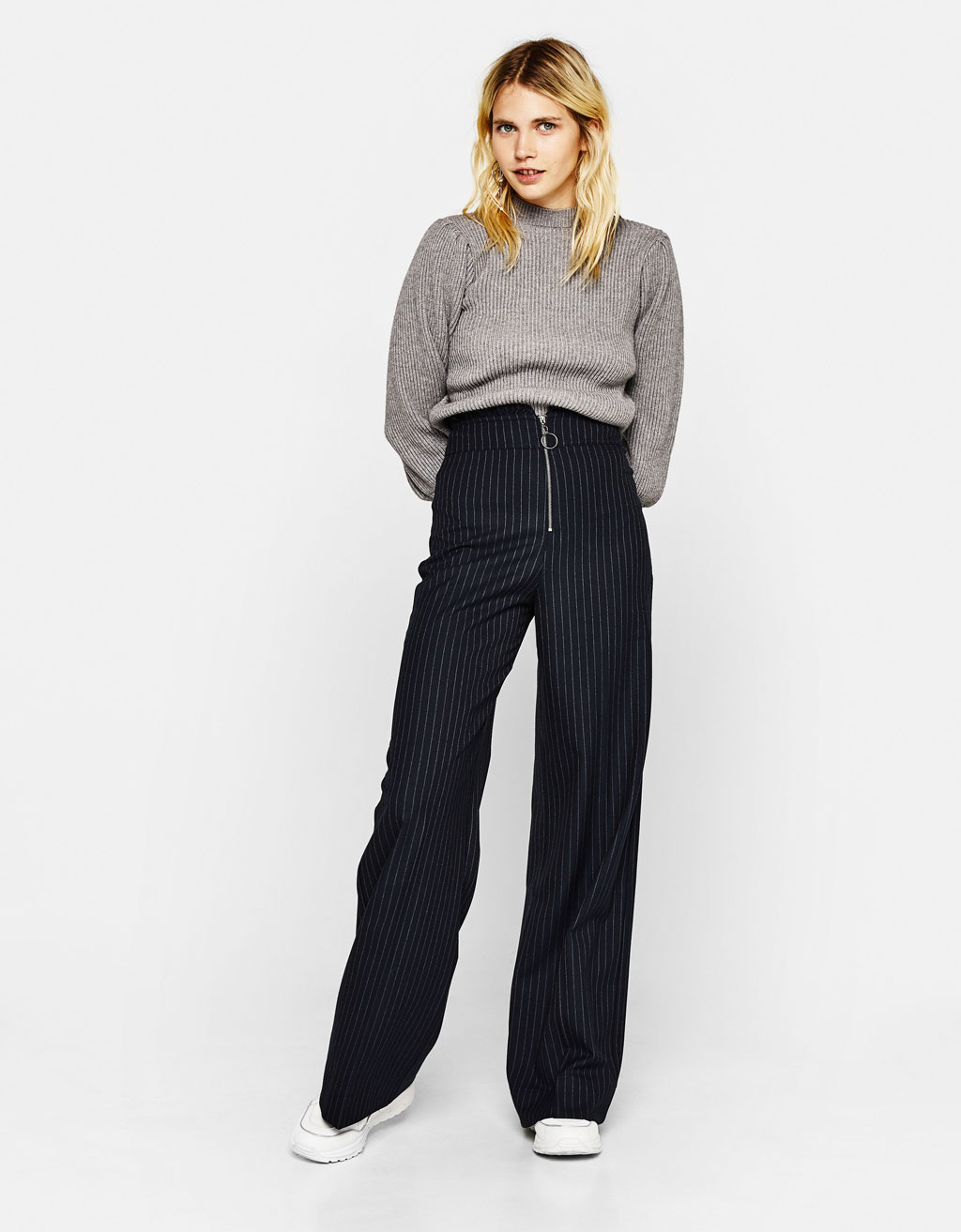 Pinstriped palazzo trousers
