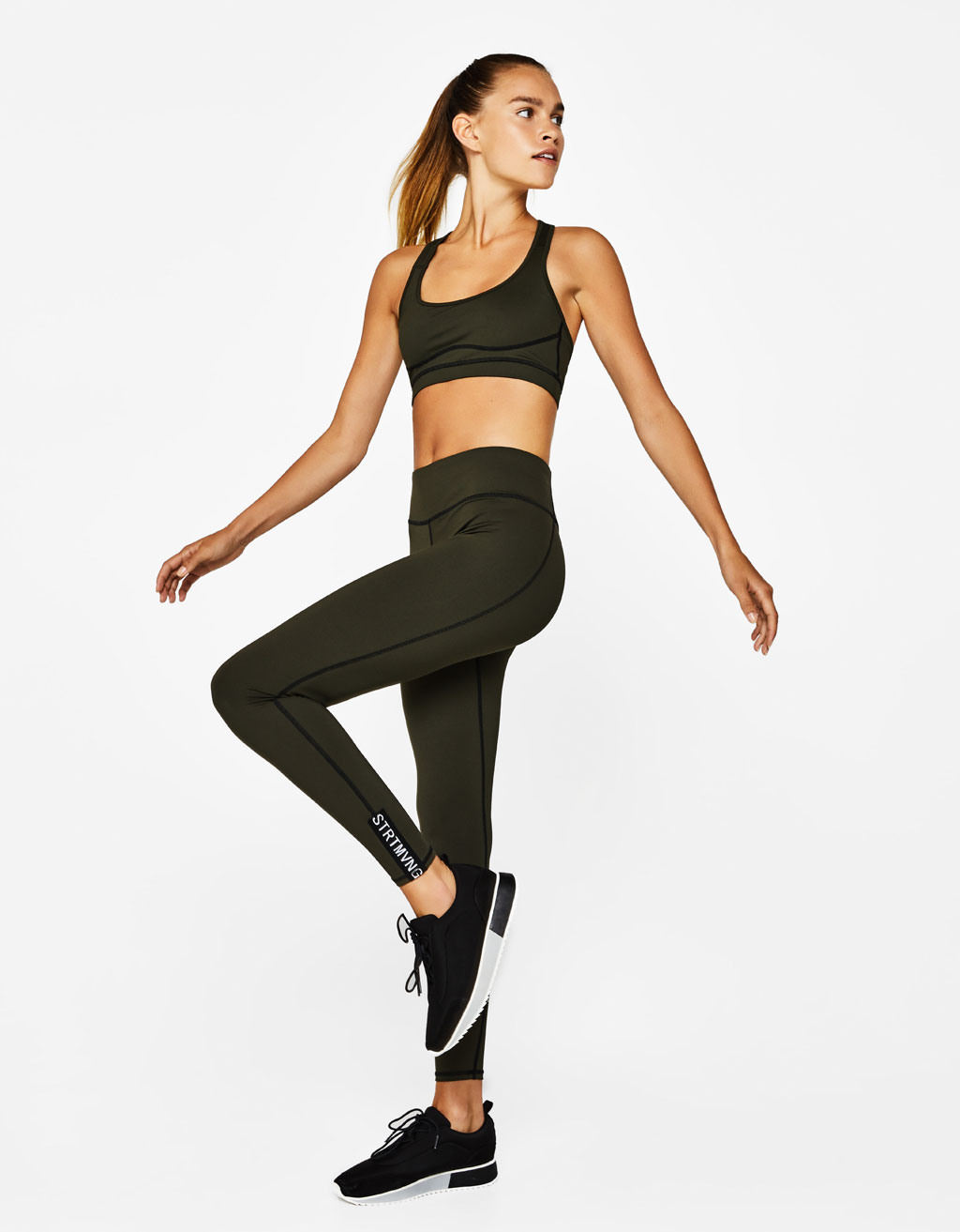 Technical sports leggings with hem detail