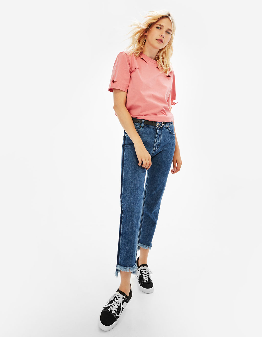 Cigarette jeans with side stripes