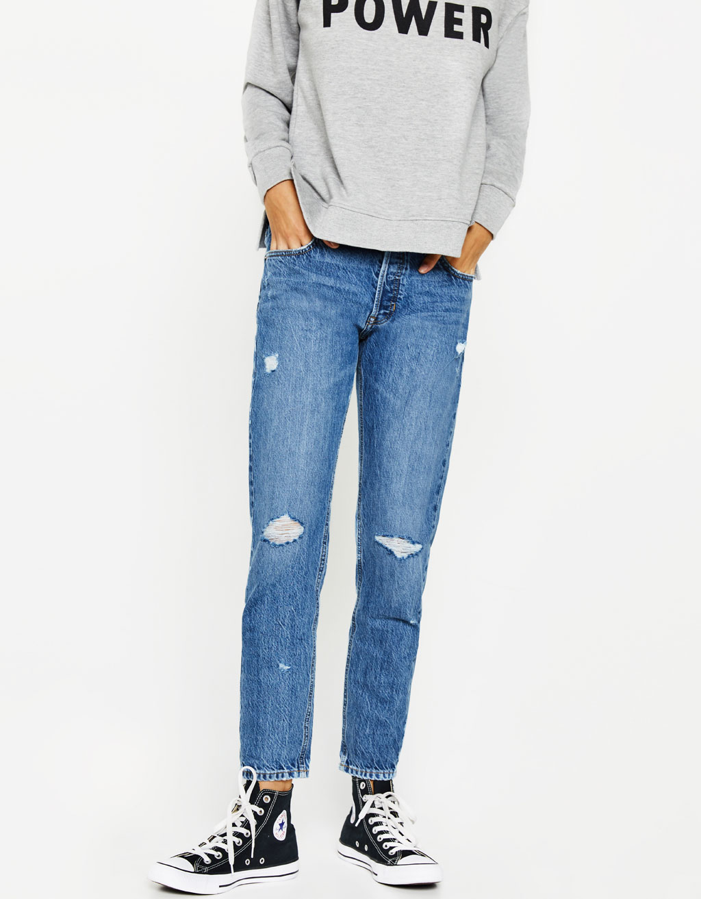 Ripped slim fit boyfriend jeans