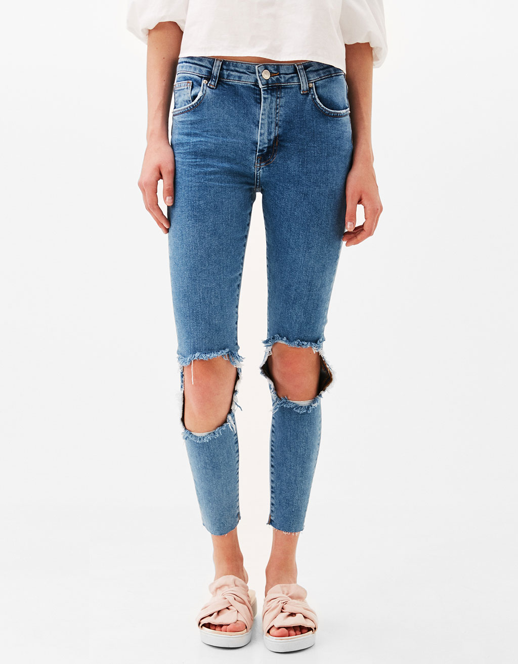 Maxi skinny fit jeans with ripped knees