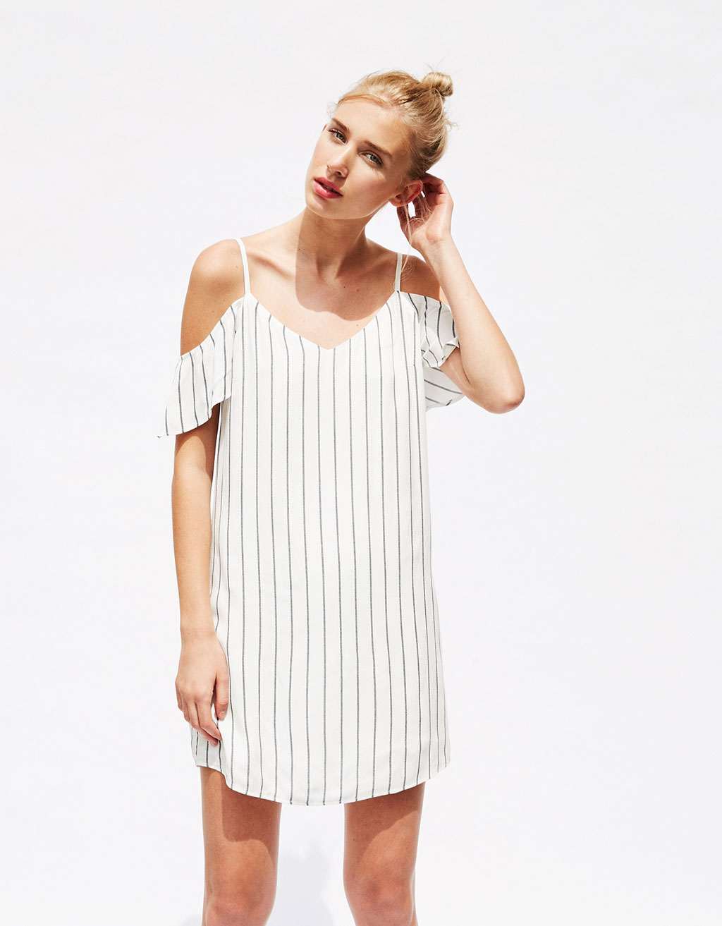 Slip dress with cap sleeves