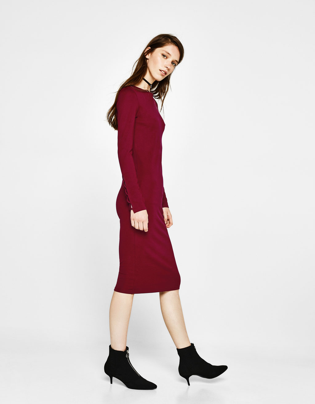 Midi dress with criss-cross sleeve detail