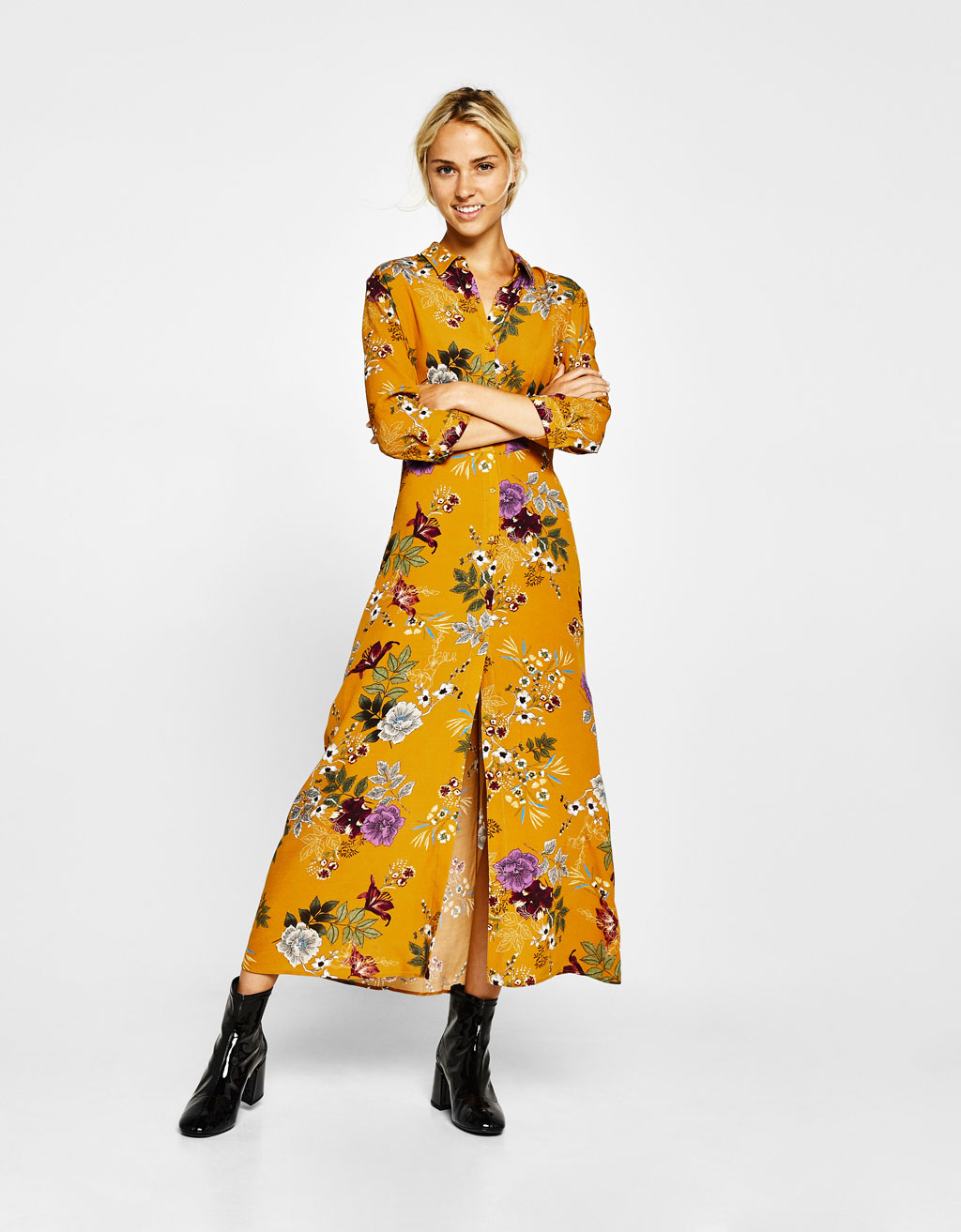 Shirt dress with a floral print