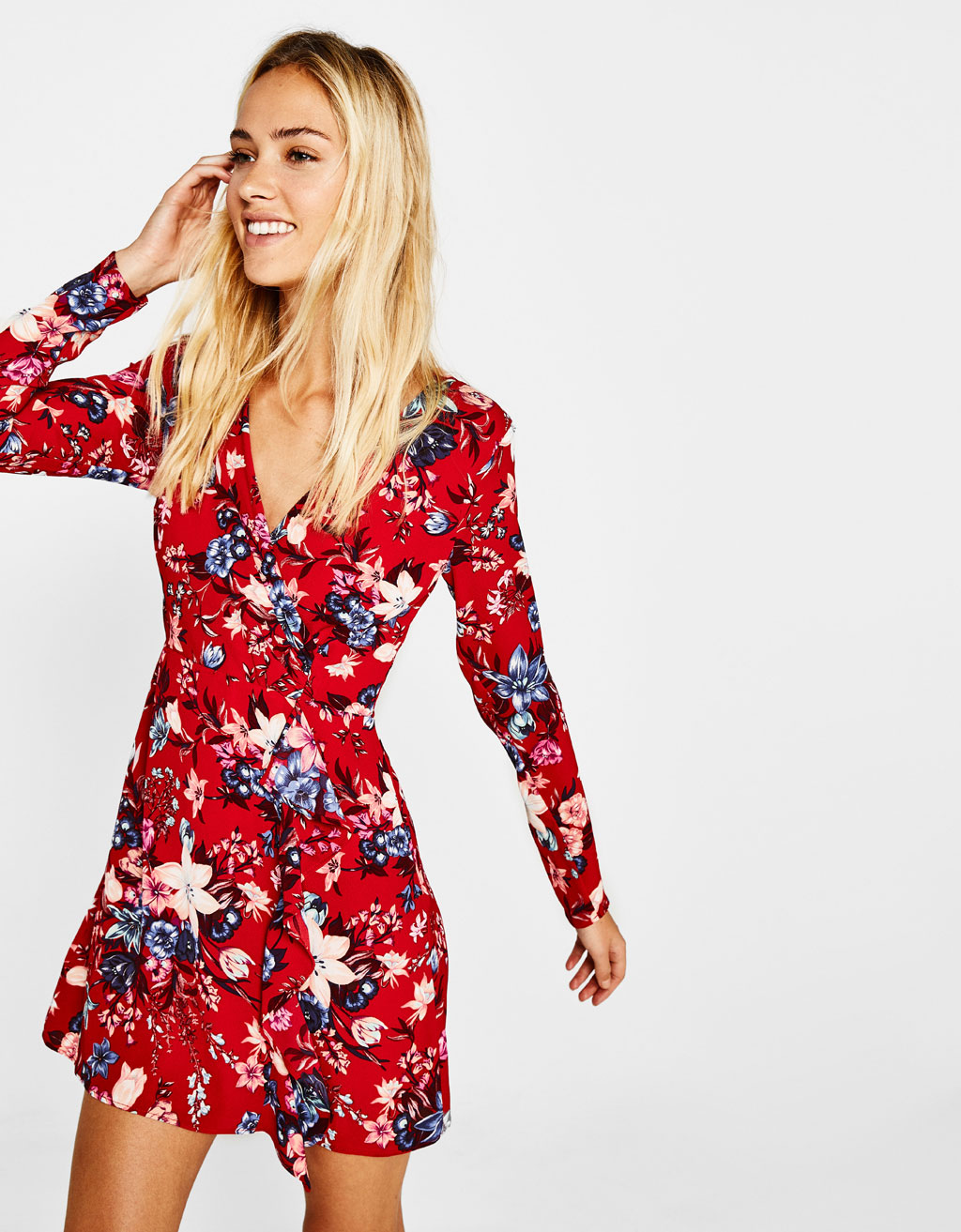 Combined floral dress with crossover neckline