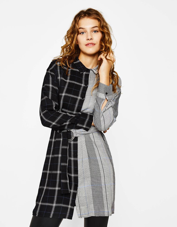 Contrasting shirt dress
