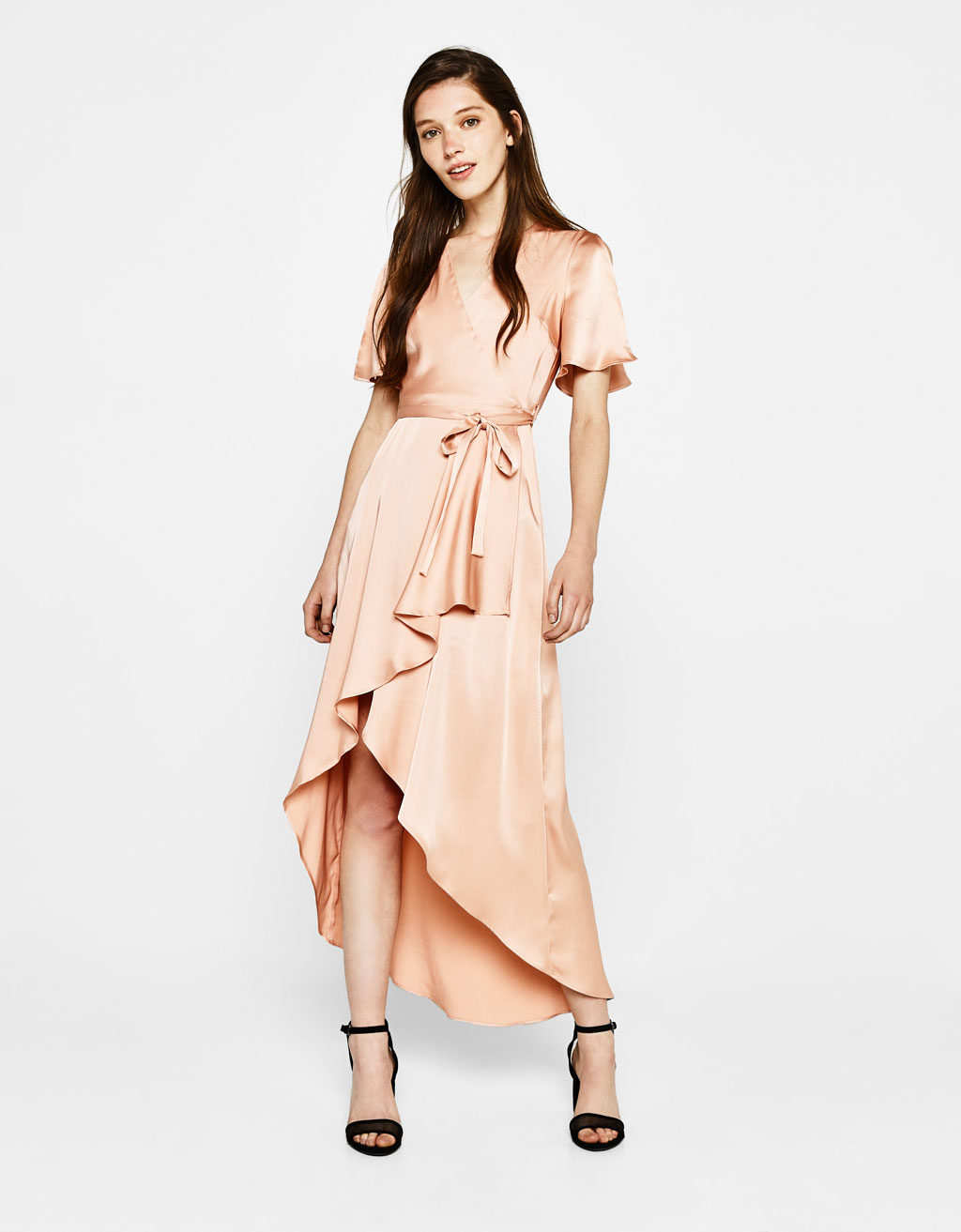 Sateen wrap dress
