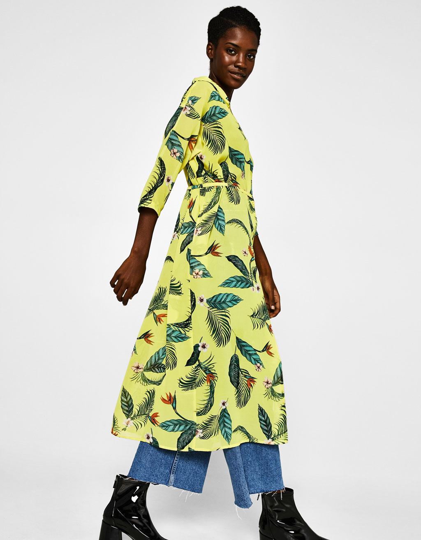 キモノスタイルプリント地ドレス
