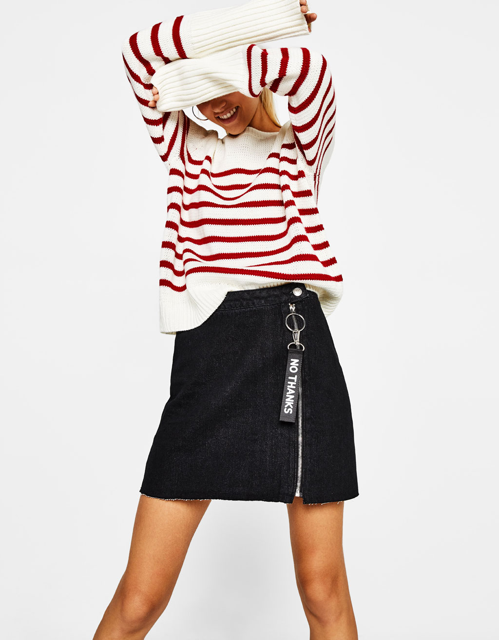 A-line denim skirt with tab detail